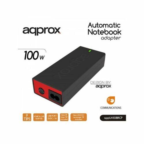 Approx APPUA100BRCP Univerzális Notebook Adapter 100W fekete-piros