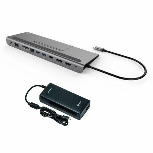 i-tec USB-C Metal Low Profile 4K Triple Display Docking Station + Power Delivery 85W dokkoló állomás + Univerzális tápegység /C31FLATPLUS112W/